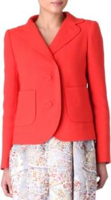 Crepe Blazer - pattern: plain; style: single breasted blazer; collar: standard lapel/rever collar; predominant colour: coral; occasions: casual, work, occasion; length: standard; fit: tailored/fitted; back detail: back vent/flap at back; sleeve length: long sleeve; sleeve style: standard; texture group: crepes; collar break: medium; pattern type: fabric; pattern size: standard; fibres: viscose/rayon - mix