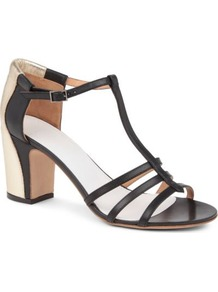 Mgm Leather Sandals - predominant colour: black; occasions: evening, work, occasion, holiday; material: leather; heel height: mid; ankle detail: ankle strap; heel: block; toe: open toe/peeptoe; style: strappy; trends: metallics; finish: plain; pattern: colourblock