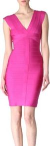 Bandage Dress - neckline: low v-neck; fit: tight; pattern: plain; sleeve style: sleeveless; style: bodycon; predominant colour: hot pink; occasions: evening, occasion; length: just above the knee; fibres: viscose/rayon - stretch; sleeve length: sleeveless; trends: fluorescent; pattern type: fabric; pattern size: standard; texture group: other - stretchy