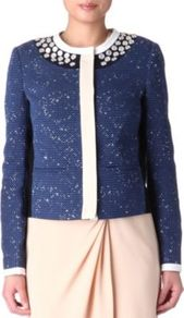 Jamie Tweed Jacket - pattern: plain; collar: round collar/collarless; style: boxy; predominant colour: navy; occasions: casual, evening, work, occasion; length: standard; fit: straight cut (boxy); fibres: cotton - mix; shoulder detail: added shoulder detail; sleeve length: long sleeve; sleeve style: standard; collar break: high; pattern type: fabric; pattern size: standard; texture group: tweed - light/midweight; embellishment: beading