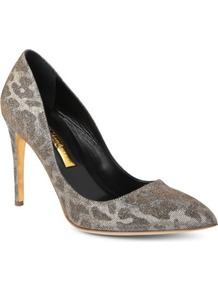 Malory Metallic Courts - predominant colour: charcoal; occasions: casual, evening, work, occasion; material: fabric; heel height: high; heel: stiletto; toe: pointed toe; style: courts; trends: metallics; finish: metallic; pattern: animal print