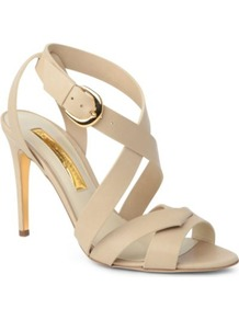 Ivory Leather Sandals - predominant colour: nude; occasions: evening, work, occasion, holiday; material: leather; heel height: high; embellishment: buckles; ankle detail: ankle strap; heel: stiletto; toe: open toe/peeptoe; style: strappy; finish: plain; pattern: plain