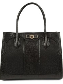 Town & Country Twill And Leather Tote - predominant colour: black; occasions: casual, work; type of pattern: standard; style: tote; length: handle; size: standard; material: leather; pattern: plain; finish: plain