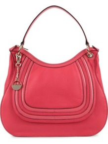Crosby Large Leather Hobo - predominant colour: hot pink; occasions: casual, work, occasion, holiday; type of pattern: light; style: shoulder; length: shoulder (tucks under arm); size: standard; material: leather; embellishment: tassels; pattern: plain; finish: plain