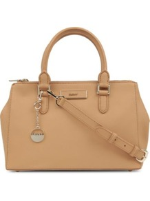 Saffiano Leather Tote - predominant colour: camel; occasions: casual, evening, work; type of pattern: standard; style: tote; length: handle; size: standard; material: leather; pattern: plain; finish: plain