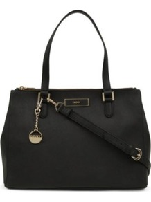 Saffiano Leather Tote - predominant colour: black; occasions: casual, work; type of pattern: standard; style: tote; length: handle; size: standard; material: leather; pattern: plain; finish: plain