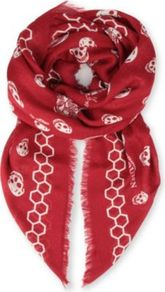 Bee Skull Modal And Silk Blend Pashmina - predominant colour: true red; occasions: casual, evening, work, holiday; type of pattern: heavy; style: square; size: standard; material: silk; pattern: patterned/print