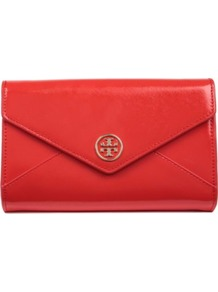 Robinson Envelope Clutch - predominant colour: true red; occasions: casual, occasion; type of pattern: standard; style: clutch; length: hand carry; size: small; material: leather; pattern: plain; finish: patent