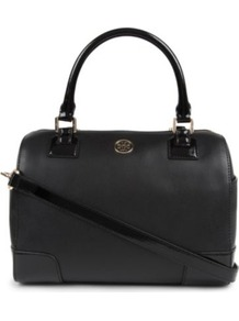 Robinson Middy Satchel - predominant colour: black; occasions: casual, work; type of pattern: standard; style: bowling; length: handle; size: standard; material: leather; pattern: plain; finish: plain