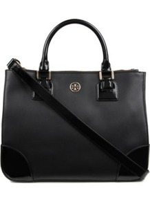 Robinson Double Zip Tote - predominant colour: black; occasions: casual, work; type of pattern: standard; style: tote; length: handle; size: standard; material: leather; pattern: plain; finish: plain