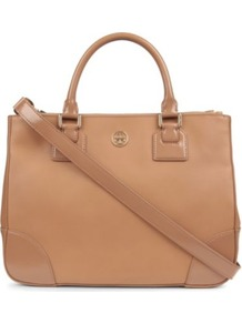 Robinson Double Zip Tote - predominant colour: camel; occasions: casual, work; type of pattern: standard; style: tote; length: handle; size: standard; material: leather; pattern: plain; finish: plain