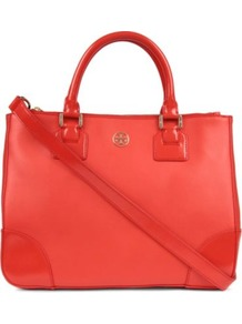 Robinson Double Zip Tote - predominant colour: true red; occasions: casual, work; type of pattern: standard; style: tote; length: handle; size: standard; material: leather; pattern: plain; finish: plain