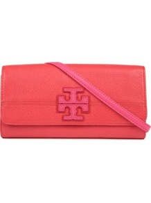 Stacked T Clutch - predominant colour: true red; occasions: evening, occasion; type of pattern: light; style: clutch; length: hand carry; size: small; material: leather; embellishment: applique; pattern: monogram; finish: plain