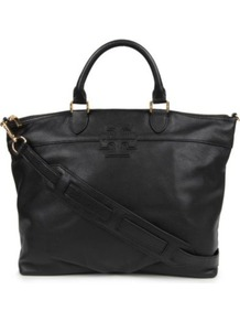 Stacked T Satchel - predominant colour: black; occasions: casual, work; type of pattern: standard; style: tote; length: handle; size: oversized; material: leather; pattern: plain; finish: plain