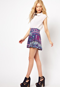 Aztec Printed Skater Skirt - length: mid thigh; fit: loose/voluminous; waist: mid/regular rise; secondary colour: purple; predominant colour: navy; occasions: casual, holiday; style: a-line; fibres: cotton - stretch; pattern type: fabric; pattern size: small &amp; busy; pattern: patterned/print; texture group: jersey - stretchy/drapey