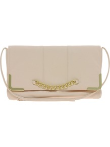 Clutch Bag With Chain Detail - predominant colour: nude; occasions: evening, occasion; type of pattern: standard; style: clutch; length: hand carry; size: small; material: faux leather; pattern: plain; finish: plain; embellishment: chain/metal