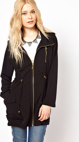 Utility Parka - pattern: plain; length: below the bottom; hip detail: side pockets at hip; fit: loose; style: parka; back detail: hood; collar: high neck; predominant colour: black; occasions: casual; fibres: polyester/polyamide - 100%; waist detail: belted waist/tie at waist/drawstring; sleeve length: long sleeve; sleeve style: standard; collar break: high; pattern type: fabric; texture group: other - light to midweight