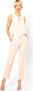 Trousers With Metallic Waistband - pattern: plain; waist detail: embellishment at waist/feature waistband; pocket detail: pockets at the sides; waist: mid/regular rise; predominant colour: nude; occasions: evening, work; length: ankle length; fibres: polyester/polyamide - stretch; texture group: cotton feel fabrics; trends: tuxedo; fit: straight leg; pattern type: fabric; style: standard