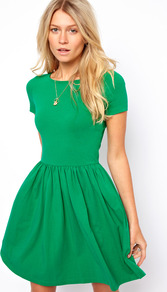 Skater Dress With Slash Neck And Short Sleeves - pattern: plain; waist detail: fitted waist; predominant colour: emerald green; occasions: casual, evening, work, holiday; length: just above the knee; fit: fitted at waist &amp; bust; style: fit &amp; flare; fibres: cotton - stretch; neckline: crew; hip detail: ruching/gathering at hip; sleeve length: short sleeve; sleeve style: standard; pattern type: fabric; texture group: jersey - stretchy/drapey