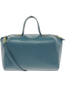 Bowler Bag With Metal Keepers - predominant colour: dark green; occasions: casual, work, holiday; type of pattern: standard; style: bowling; length: handle; size: oversized; material: faux leather; embellishment: zips; pattern: plain; finish: plain