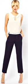Trousers With Metallic Waistband - pattern: plain; waist detail: embellishment at waist/feature waistband; pocket detail: pockets at the sides; waist: mid/regular rise; predominant colour: navy; secondary colour: silver; occasions: evening, work, holiday; length: ankle length; fibres: polyester/polyamide - stretch; hip detail: fitted at hip (bottoms); texture group: crepes; fit: slim leg; pattern type: fabric; style: standard