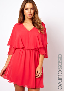 Curve Dress With Cape - style: shift; neckline: v-neck; sleeve style: angel/waterfall; fit: fitted at waist; pattern: plain; waist detail: twist front waist detail/nipped in at waist on one side/soft pleats/draping/ruching/gathering waist detail; predominant colour: coral; occasions: evening, occasion; length: just above the knee; fibres: polyester/polyamide - 100%; sleeve length: half sleeve; texture group: sheer fabrics/chiffon/organza etc.; bust detail: tiers/frills/bulky drapes/pleats; hip detail: ruffles/tiers/tie detail at hip; pattern type: fabric