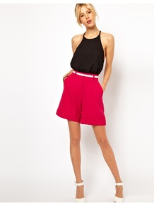 Shorts In Premium Crepe - pattern: plain; style: shorts; waist: high rise; pocket detail: pockets at the sides; waist detail: belted waist/tie at waist/drawstring; length: mid thigh shorts; predominant colour: hot pink; occasions: casual, evening, work, holiday; fibres: polyester/polyamide - stretch; texture group: crepes; fit: straight leg; pattern type: fabric; pattern size: standard