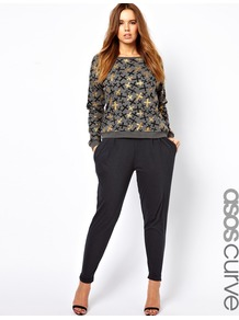Curve Peg Trousers In Jersey - pattern: plain; waist detail: elasticated waist; style: peg leg; pocket detail: pockets at the sides; waist: mid/regular rise; predominant colour: black; occasions: casual, holiday; length: ankle length; fibres: cotton - mix; hip detail: draped at hip/ruched; fit: tapered; pattern type: fabric; texture group: jersey - stretchy/drapey