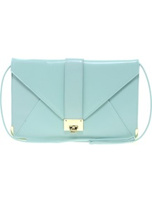 Clutch Bag With Strap And Fitting - predominant colour: pale blue; secondary colour: gold; occasions: evening, occasion, holiday; type of pattern: light; style: clutch; length: hand carry; size: standard; material: faux leather; pattern: plain; finish: patent; embellishment: chain/metal