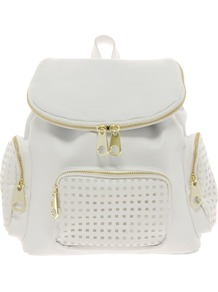 Backpack Bag With Zips And Punchout Detail - predominant colour: white; secondary colour: gold; occasions: casual, work, holiday; type of pattern: light; style: rucksack; length: rucksack; size: standard; material: faux leather; embellishment: zips; pattern: plain; trends: sporty redux; finish: plain