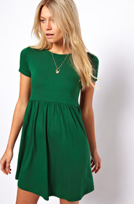 Smock Dress With Short Sleeves - length: mid thigh; pattern: plain; predominant colour: emerald green; occasions: casual, evening; fit: fitted at waist & bust; style: fit & flare; fibres: viscose/rayon - stretch; neckline: crew; hip detail: soft pleats at hip/draping at hip/flared at hip; sleeve length: short sleeve; sleeve style: standard; pattern type: fabric; texture group: jersey - stretchy/drapey