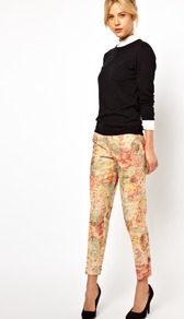 Trousers In Floral Jacquard - waist: high rise; occasions: casual, evening, occasion; length: ankle length; fibres: cotton - mix; predominant colour: multicoloured; trends: high impact florals; fit: slim leg; pattern type: fabric; pattern size: big &amp; busy; pattern: florals; texture group: brocade/jacquard; style: standard