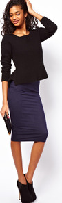 Pencil Skirt In Denim Look - length: below the knee; pattern: plain; fit: tight; waist detail: elasticated waist; waist: mid/regular rise; predominant colour: navy; occasions: casual, evening; fibres: cotton - stretch; style: tube; texture group: jersey - clingy; pattern type: fabric