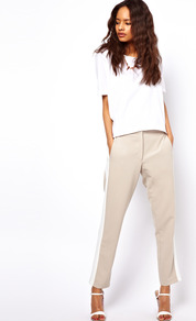 Trousers With Colour Block Side Seam - waist: mid/regular rise; secondary colour: white; predominant colour: stone; occasions: casual, evening, occasion; length: ankle length; fibres: polyester/polyamide - stretch; texture group: crepes; trends: sporty redux, tuxedo; fit: slim leg; pattern type: fabric; pattern size: big &amp; light; pattern: colourblock; style: standard