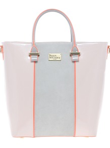 Natasha Large Patent &amp; Suedette Shopper - predominant colour: blush; occasions: casual, work; type of pattern: light; style: tote; length: handle; size: standard; material: faux leather; pattern: two-tone; finish: patent