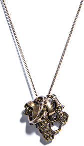 Skull And Honeycomb Charm Necklace - predominant colour: bronze; occasions: casual, work, holiday; style: pendant; length: mid; size: standard; material: chain/metal; trends: metallics; finish: metallic; embellishment: crystals