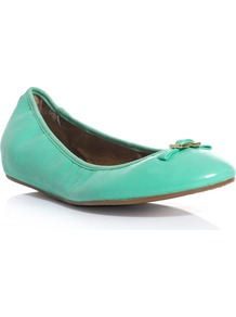 Bion Leather Flats - predominant colour: emerald green; occasions: casual, holiday; material: leather; heel height: flat; embellishment: snaffles; toe: round toe; style: ballerinas / pumps; finish: patent; pattern: plain