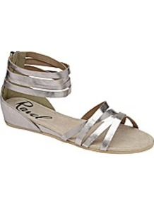Ravel Lucinda Leather Sandal - predominant colour: silver; occasions: casual, evening, holiday; material: leather; heel height: mid; embellishment: zips; ankle detail: ankle strap; heel: wedge; toe: open toe/peeptoe; style: strappy; trends: metallics; finish: metallic; pattern: plain
