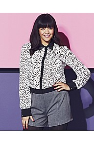 Spot Contrast Shirt - neckline: shirt collar/peter pan/zip with opening; style: shirt; pattern: polka dot; secondary colour: white; predominant colour: black; occasions: casual; length: standard; fibres: polyester/polyamide - 100%; fit: body skimming; sleeve length: long sleeve; sleeve style: standard; texture group: cotton feel fabrics; pattern type: fabric; pattern size: standard