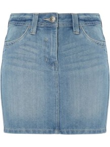 Washed Denim Mini Skirt Blue - length: mini; pattern: plain; fit: tailored/fitted; hip detail: fitted at hip; waist: mid/regular rise; predominant colour: denim; occasions: casual, holiday; style: mini skirt; fibres: cotton - mix; texture group: denim; pattern type: fabric