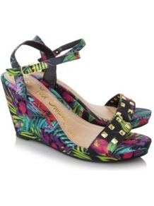 Tropical Print Wedged Sandals Multi - occasions: casual, evening, holiday; predominant colour: multicoloured; material: fabric; heel height: high; embellishment: studs; ankle detail: ankle strap; heel: wedge; toe: open toe/peeptoe; style: standard; trends: high impact florals; finish: plain; pattern: florals