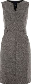 Women's Women`S Regular Tweed Boucle Shift Dress, Grey - style: shift; neckline: v-neck; fit: tailored/fitted; sleeve style: sleeveless; waist detail: embellishment at waist/feature waistband; pattern: herringbone/tweed; bust detail: ruching/gathering/draping/layers/pintuck pleats at bust; predominant colour: charcoal; occasions: evening, work; length: just above the knee; fibres: polyester/polyamide - mix; sleeve length: sleeveless; pattern type: fabric; pattern size: standard; texture group: woven light midweight