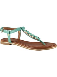 Miralles Flat Sandals, Green - predominant colour: mint green; occasions: casual, evening, holiday; material: faux leather; heel height: flat; ankle detail: ankle strap; heel: standard; toe: toe thongs; style: flip flops / toe post; finish: plain; pattern: plain; embellishment: chain/metal