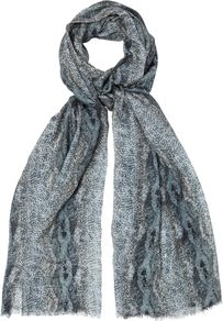 Reptile Print Scarf, Grey - predominant colour: mid grey; occasions: casual, evening, work, occasion; type of pattern: heavy; style: skinny; size: standard; material: fabric; embellishment: fringing; pattern: patterned/print