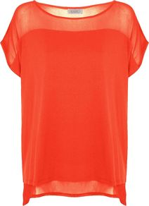 Women&#x27;s Woven Jersey Mix Top, Coral - neckline: slash/boat neckline; sleeve style: dolman/batwing; pattern: plain; style: t-shirt; shoulder detail: contrast pattern/fabric at shoulder; predominant colour: bright orange; occasions: casual, evening, holiday; length: standard; fibres: polyester/polyamide - 100%; fit: loose; hip detail: dip hem; sleeve length: short sleeve; pattern type: fabric; texture group: jersey - stretchy/drapey