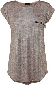 Women&#x27;s Metallic Knitted Tee, Mink - pattern: plain; style: t-shirt; bust detail: pocket detail at bust; predominant colour: charcoal; occasions: casual, holiday; length: standard; fibres: polyester/polyamide - stretch; fit: loose; neckline: crew; sleeve length: short sleeve; sleeve style: standard; pattern type: fabric; texture group: jersey - stretchy/drapey