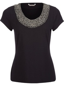 Women&#x27;s Embellished Jersey Top, Black - neckline: round neck; pattern: plain; bust detail: added detail/embellishment at bust; style: t-shirt; predominant colour: black; occasions: evening, work; length: standard; fibres: viscose/rayon - stretch; fit: body skimming; sleeve length: short sleeve; sleeve style: standard; pattern type: fabric; texture group: jersey - stretchy/drapey; embellishment: beading