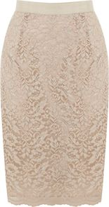 Women's Kristina Lace Skirt, Neutral - style: pencil; fit: tailored/fitted; waist detail: embellishment at waist/feature waistband; waist: high rise; predominant colour: stone; occasions: evening, work, occasion; length: just above the knee; fibres: polyester/polyamide - mix; hip detail: sculpting darts/pleats/seams at hip; texture group: lace; trends: metallics; pattern type: fabric; pattern size: small & light; pattern: patterned/print