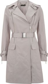Women's Stone Double Zip Trench Coat, Stone - pattern: plain; style: trench coat; hip detail: front pockets at hip; collar: standard lapel/rever collar; length: mid thigh; predominant colour: light grey; occasions: casual, work; fit: tailored/fitted; fibres: polyester/polyamide - 100%; waist detail: belted waist/tie at waist/drawstring; shoulder detail: discreet epaulette; sleeve length: long sleeve; sleeve style: standard; texture group: cotton feel fabrics; collar break: medium; pattern type: fabric