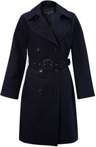 Women's Fair Lady Trench Coat, Navy - pattern: plain; style: trench coat; length: mid thigh; predominant colour: black; occasions: casual, work; fit: tailored/fitted; fibres: cotton - 100%; collar: shirt collar/peter pan/zip with opening; waist detail: belted waist/tie at waist/drawstring; sleeve length: long sleeve; sleeve style: standard; texture group: cotton feel fabrics; collar break: high/illusion of break when open